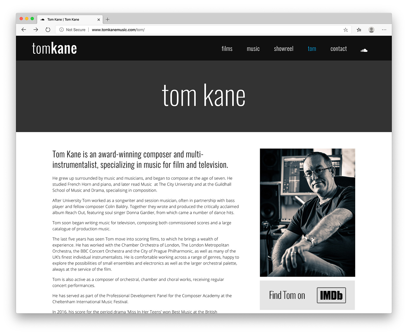 Tom Kane, Music For Picture